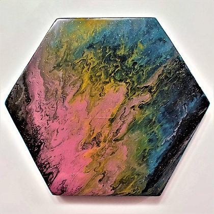 """Dapple"" Hexagon Pour Painting"