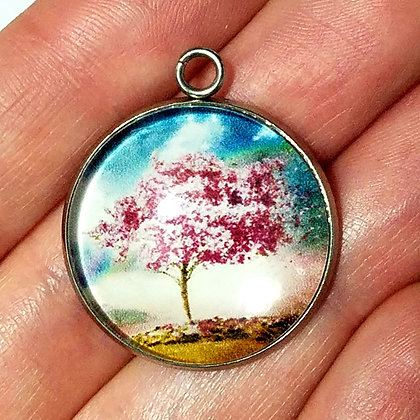 Tree Round Necklace Pendant with Chain