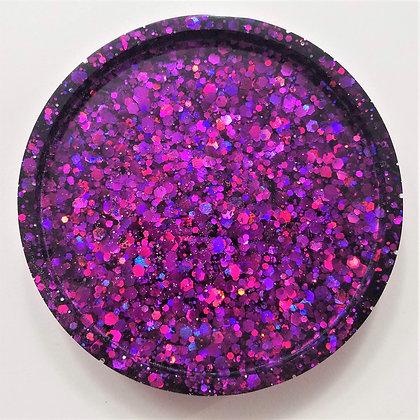 Sparkling Glitter Deep Purple Resin Coaster