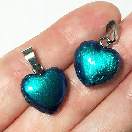 Set of 2 Turquoise Blue Heart Pendants (no necklace included)