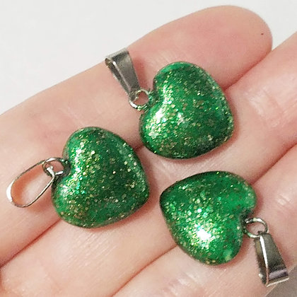 Set of 3 Green Glitter Heart Pendants (no necklace included)