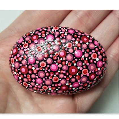 Handpainted Red Dotted Stone