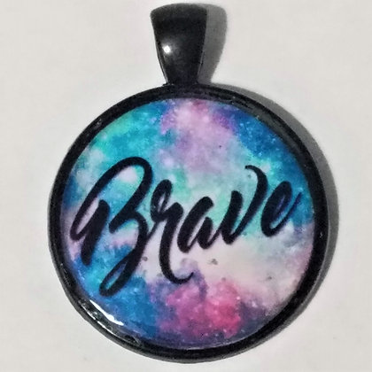 Brave Quote Black Pendant with Cord Necklace