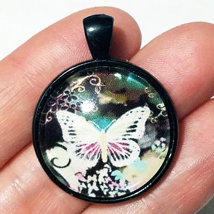 White Butterfly Black Pendant with Cord Necklace