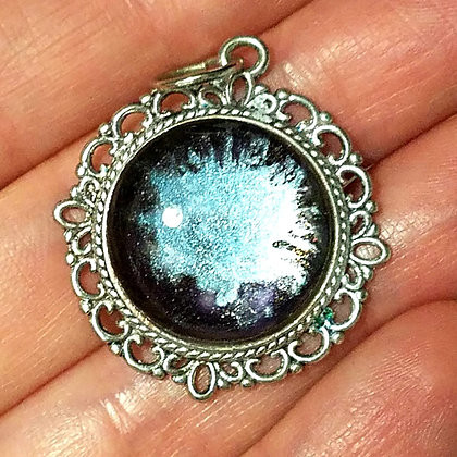 Blue Black Round Necklace Pendant with Chain