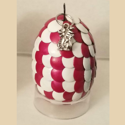 Red White 2 inch Dragon Egg with Charm