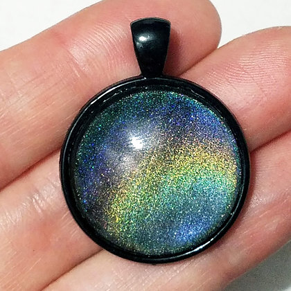 Holographic Colorshift Black Pendant with Cord Necklace