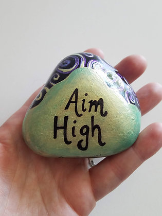 Handpainted Colorshift Aim High Northeast Quote Stone