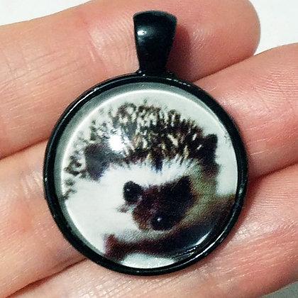 Black Hedgehog Animal Pendant with Black Cord Necklace