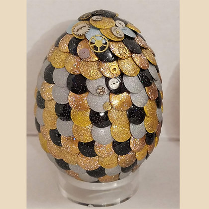Gold Silver Metallic 3 inch Dragon Egg with Steampunk Gears