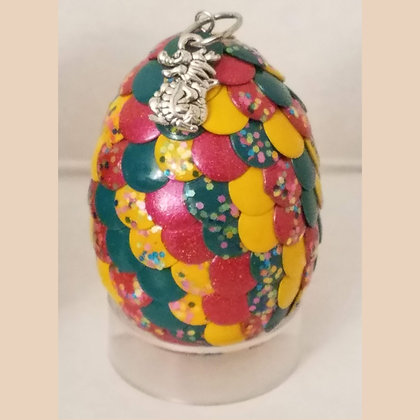 Yellow Pink Green Glitter 2 inch Dragon Egg with Charm