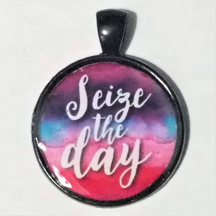 Save the Day Quote Black Pendant with Cord Necklace