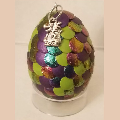 Green Colorshift Multicolored 2 inch Dragon Egg with Charm