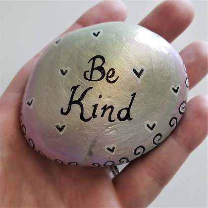 Handpainted Green pink Colorshift Be Kind Quote Northeast  Stone
