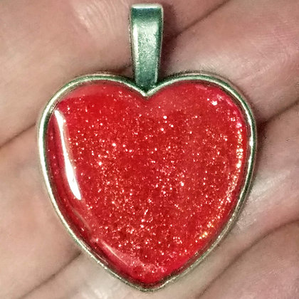 Red Shimmering Heart Shaped Necklace Pendant with Chain