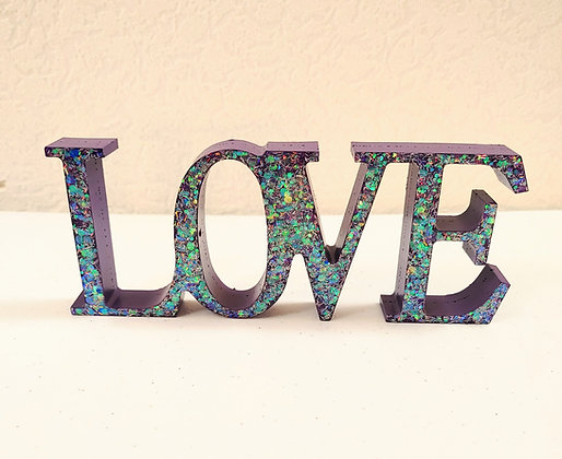 Sparkling Resin & Purple Word Love Shelf Decor