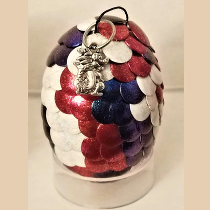 White Red Blue Multicolored 2 inch Dragon Egg with Charm