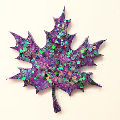 Purple Green Holographic Sparkling Leaf Suncatcher