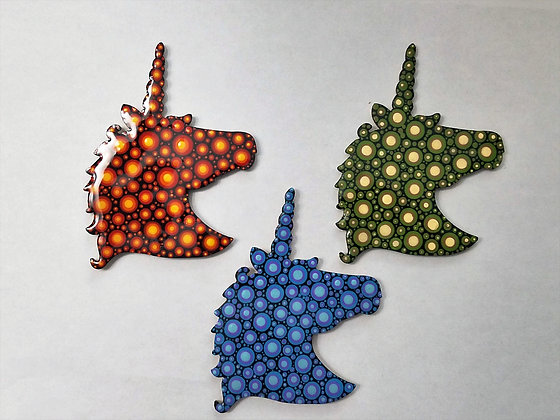 Set of 3 Handpainted Wooden Unicorn Magnets