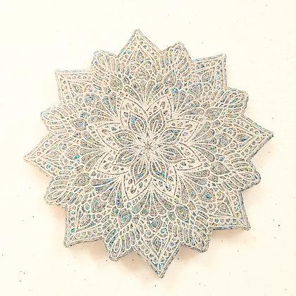 Sparkling White Mandala Resin Coaster