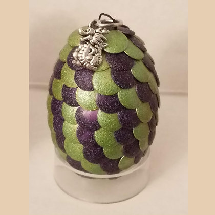 Green Purple 2 inch Dragon Egg with Charm