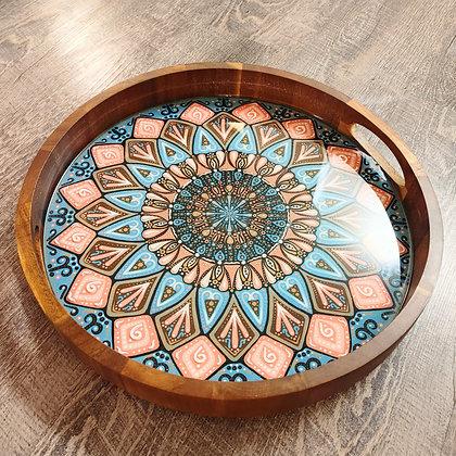 """15"""" Painted Natural Mandala Resin Acacia Wood Charcuterie Board Serving Tray"""