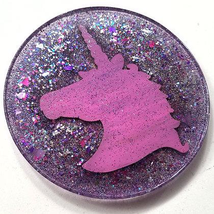 Sparkling Glitter Glitter Pretty Pink Unicorn Round Resin Coaster
