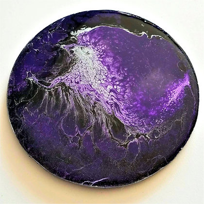 Handpainted Pour Painting Purple Black Resin Coaster