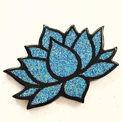 Sparkling Blue Resin Lotus Coaster