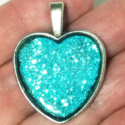 Blue Shimmering Heart Shaped Necklace Pendant with Chain