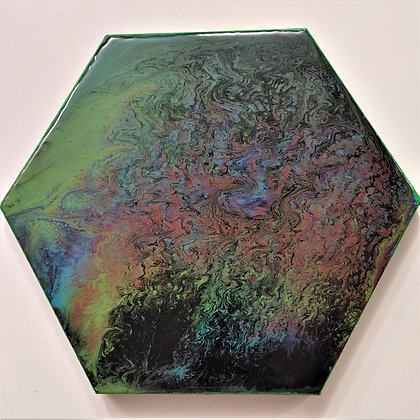 """""""Drizzly"""" Hexagon Pour Painting"""