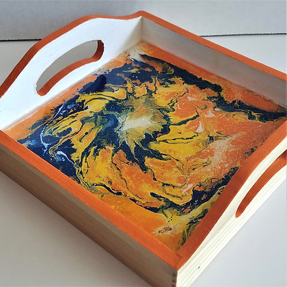 "6""x6"" Orange Blue Resin Tray"