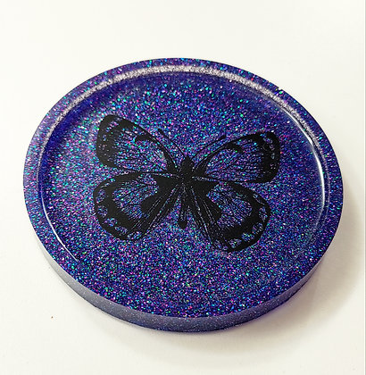 Sparkling Glitter Purple Butterfly Decal Resin Coaster