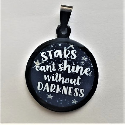 Stars Can't Shine in Darkness Quote Necklace Black Pendant with Chain