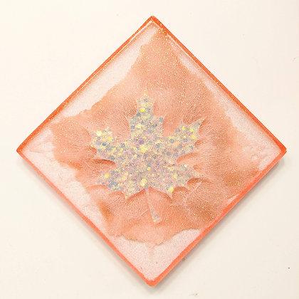 Peach Sparkling Leaf Resin Coaster