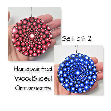 Set of 2 Handpainted Red Blue Dotted Mandala Wooden Ornaments