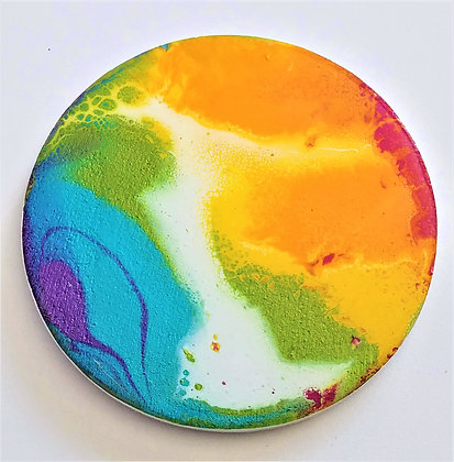 Handpainted Pour Painting Rainbow Resin Coaster