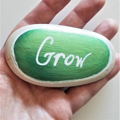 Handpainted Green Colorshift Grow Quote Alaskan White Stone