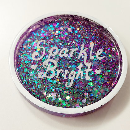 "Sparkling Glitter ""Sparkle Bright"" Holographic Purple Resin Coaster"