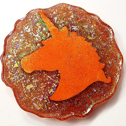 Orange Sparkling Glitter Glitter Resin Unicorn Geode Coaster