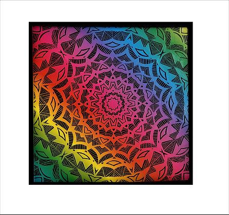 """Prismatic Symmetry"" Rainbow Scratch Art"