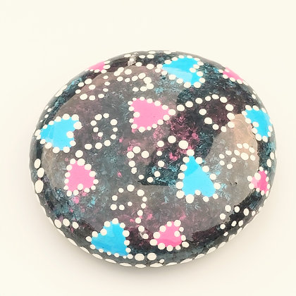 Handpainted Dotted Pink Blue Heart Washington Stone