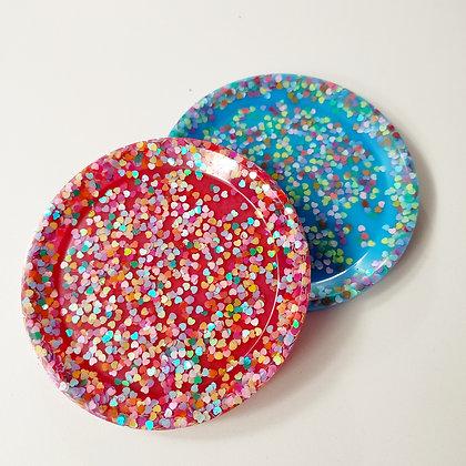 Set of 2, Heart Glitter Pink & Blue Resin Coaster