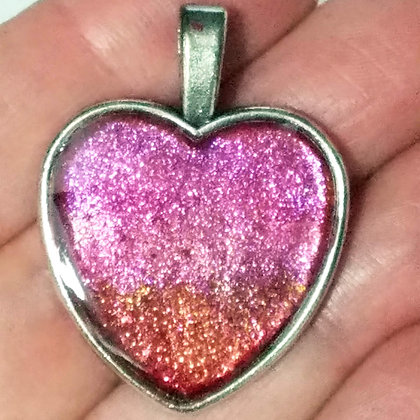 Pink Red Shimmering Heart Shaped Necklace Pendant with Chain