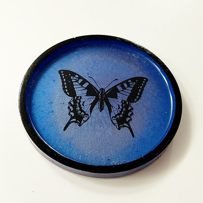 Blue Butterfly Decal Resin Coaster