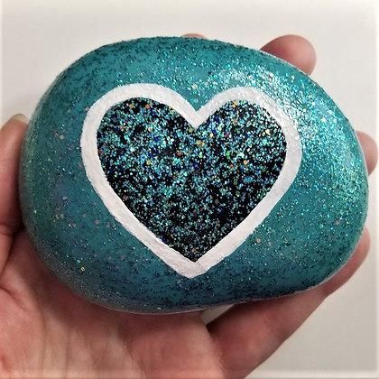 Handpainted Teal Blue Glitter Heart Northeast Stone