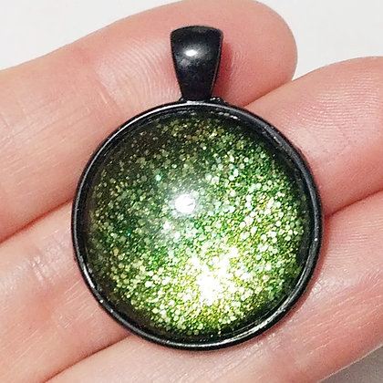 Green Sparling Glitter Black Pendant with Cord Necklace