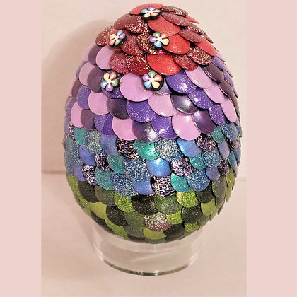 Multicolored Rainbow 3 inch Dragon Egg with Flowers