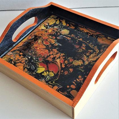 "6""x6"" Orange Black Painted Resin Tray"