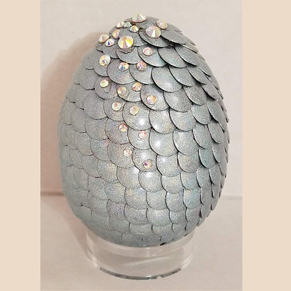 Silver Holographic 3 inch Dragon Egg with Rhinestones